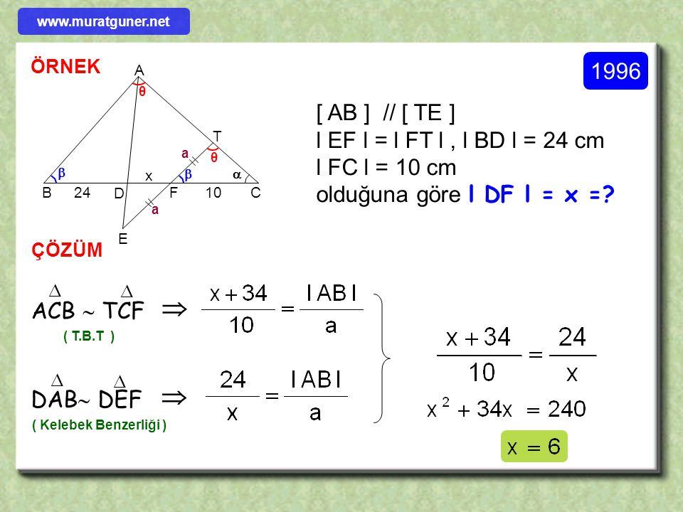   1996 [ AB ] // [ TE ] l EF l = l FT l , l BD l = 24 cm